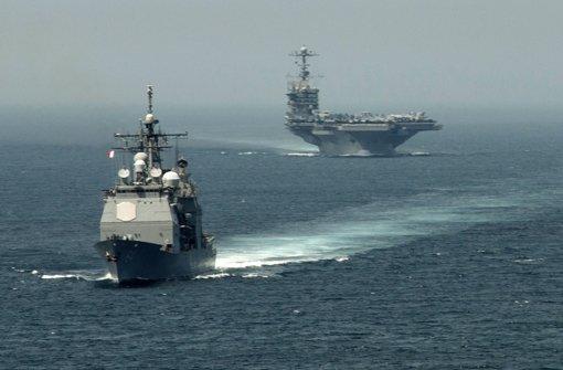 """In der Nähe des US-Flugzeugträger """"USS Harry S. Truman"""" sollen iranische Raketen getestet worden sein. Foto: AFP"""