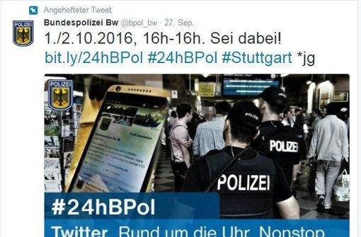 Unter #24hBPol twittert die Polizei
