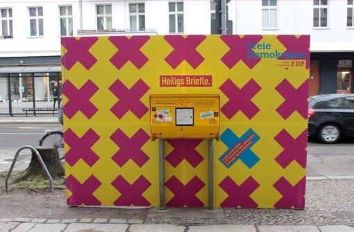 So sieht eine der Wahlurnen für Berliner Exil-Schwaben aus, die die Werbeagentur Heimat im Auftrag der FDP plazierte. Foto: FDP Baden-Württemberg