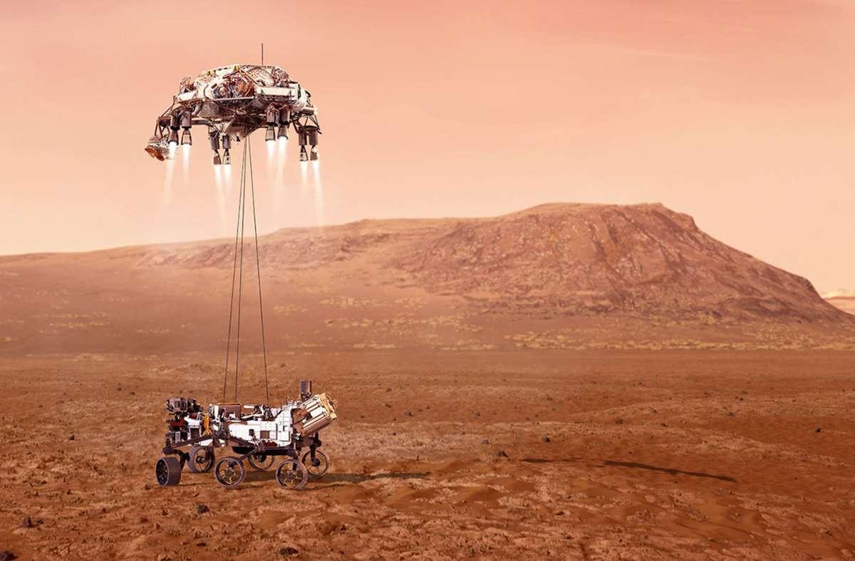 """Nasa-Rover """"Perseverance"""" landet auf dem Mars - Erster Hubschrauber-Flug auf einem anderen Planeten - Stuttgarter Nachrichten"""