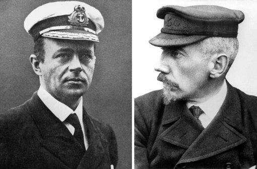 1911/12: Der britische Expeditionsleiter Robert Scott (links) und der  norwegische Polarforscher Roald Amundsen.  Foto: dpa
