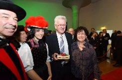 Beim Neujahrsempfang der Landesregierung hat Manfred Kretschmann am SAmstag mehreren hundert Gästen in der Stuttgarter Staatsgalerie empfangen. Foto: www.7aktuell.de/Eyb