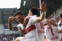 Der VfB Stuttgart hat mit dem 2:1-Sieg in Paderborn den Klassenerhalt perfekt gemacht. Hier gibts die Bilder vom Spiel. Foto: Bongarts/Getty Images