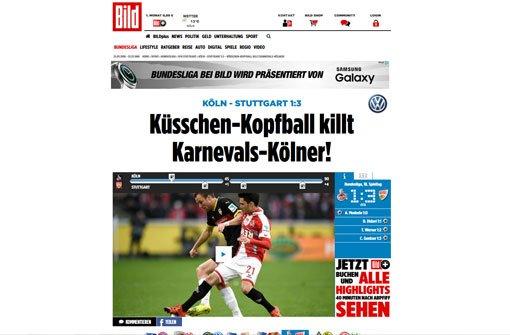 Die bBild-Zeitung/b freut sich über den Küsschen-Jubel von Timo Werner nach seinem 2:1 gegen die Kölner. Unter Ex-Coach Zorniger gab es dafür Ärger, unter Kramny ist das schon mal erlaubt, so die Bild. Foto: Screenshot